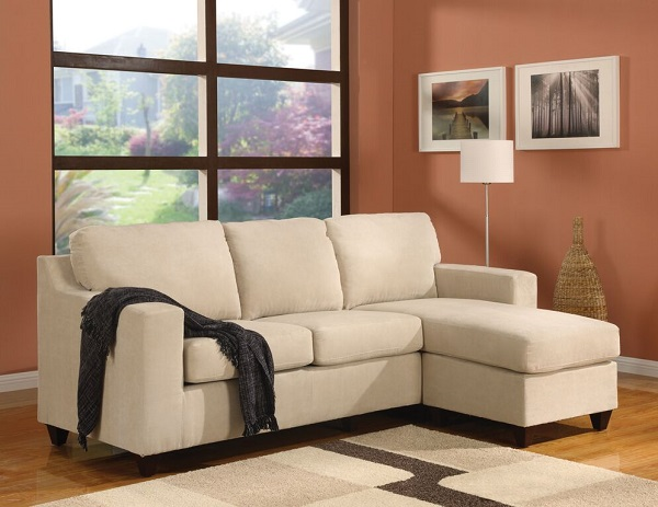 Bon Vogue Beige Mirofiber Reversible Chaise Sectional Sofa