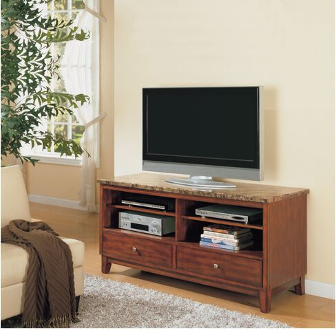 Faux Marble Top Tv Console In Brown