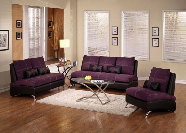 Jolie purple and black sofa w 2 pillows shop for for Stratford home pillows living room furniture