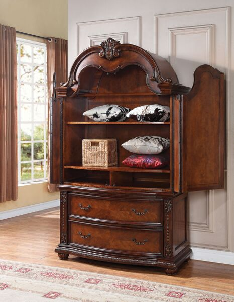 Nathaneal Tobacco Drawers Doors Storage TV Armoire