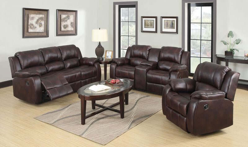 Zanthe 2pcs Brown Microfiber Reclining Sofa Set Console