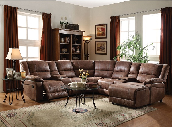 Zanthe 5pcs Brown Home Theater Reclining Sofa Sectional