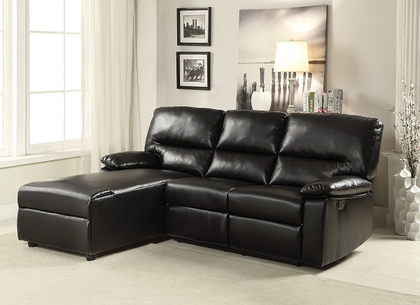 Artha Black Bonded Leather Motion Sectional Sofa Chaise Shop For