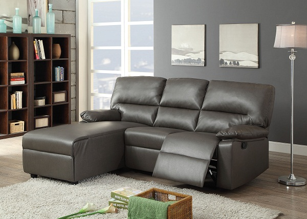 Artha Gray Bonded Leather Motion Sectional Sofa Chaise Shop For