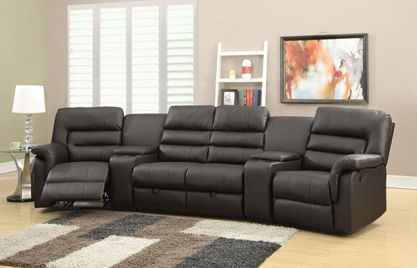 Nicholas Espresso PU Leather Reclining Sofa Home Theatre