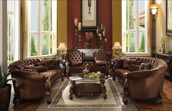 Versailles Brown Velvet Sofa Set