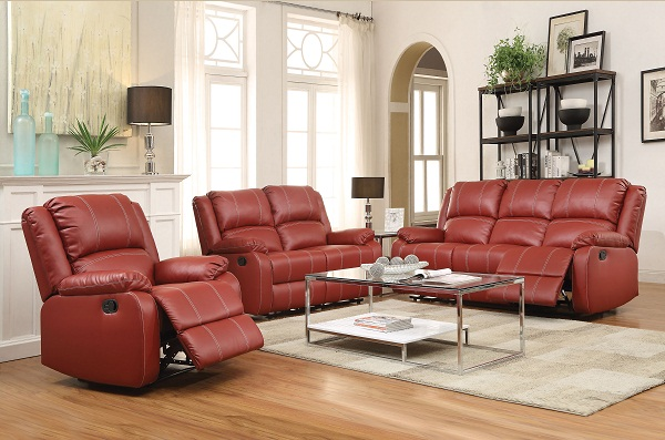 Zuriel Red PU Leather Motion Sofa Set - Shop for Affordable Home ...