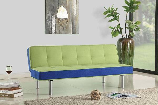 Hailey Green Blue Flannel Fabric Sofa Bed Futon Sleeper