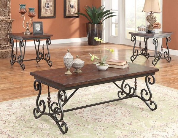 Bagga Cherry Oak Antique Black 3pcs Coffee Table Set