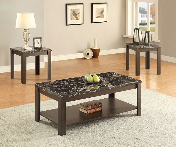Afton Walnut 3pcs Faux Marble Coffee Table Set
