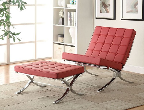 Elian Red Accent Chair w/Ottoman - Shop for Affordable Home ...