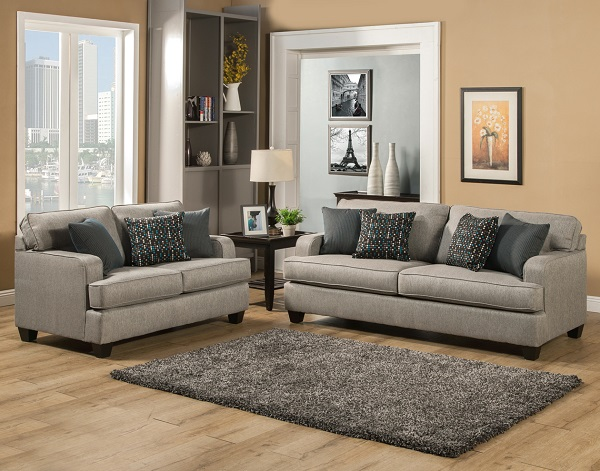 Coach Grey 2 Pcs Sofa Set