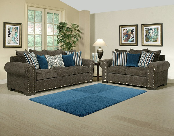 Gentil Razor Charcoal 2Pcs Sofa Set