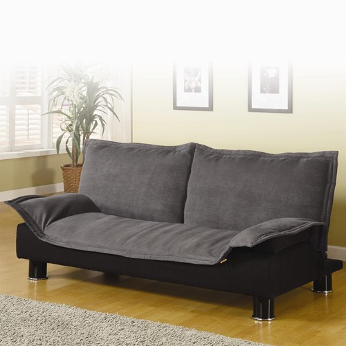 Dark Grey Brown Microfiber Futon Sofa Bed