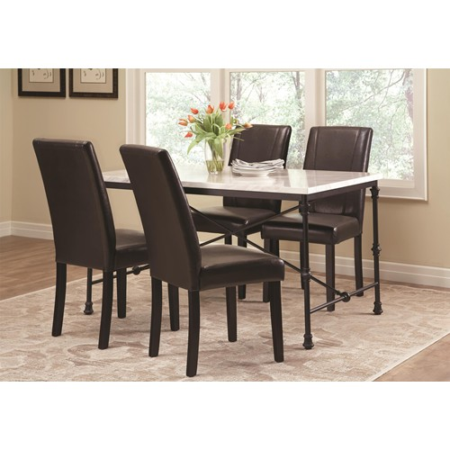 Dark Rustic 5pcs Marble Top Dining Table Set