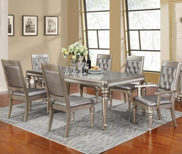 Incredible Metallic Platinum Dining Set Home Interior And Landscaping Ponolsignezvosmurscom