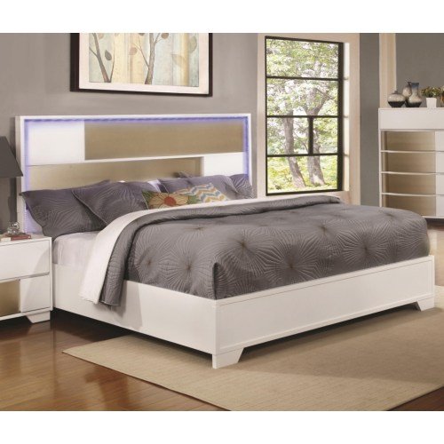 Cal king bed w led lighted headboard shop for affordable home furniture decor outdoors and more for London bedroom set with lighted headboard