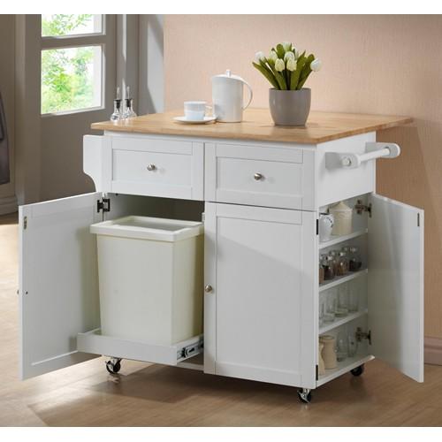 White Storage Kitchen Cart Island