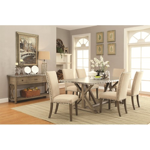 Metal Top Nailhead Trim Dining Table In Driftwood