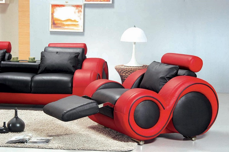 Black And Red Leather Sofa Set