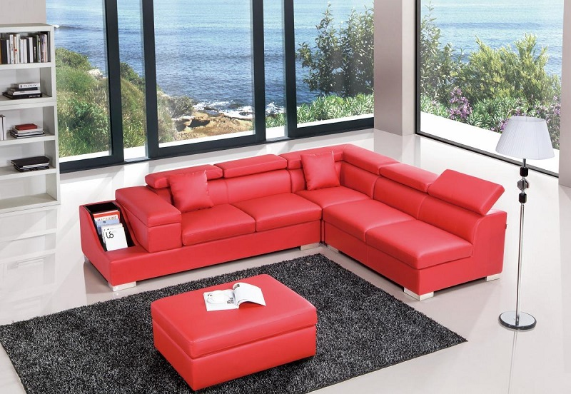 Surprising Red Leather Sectional Sofa Caraccident5 Cool Chair Designs And Ideas Caraccident5Info