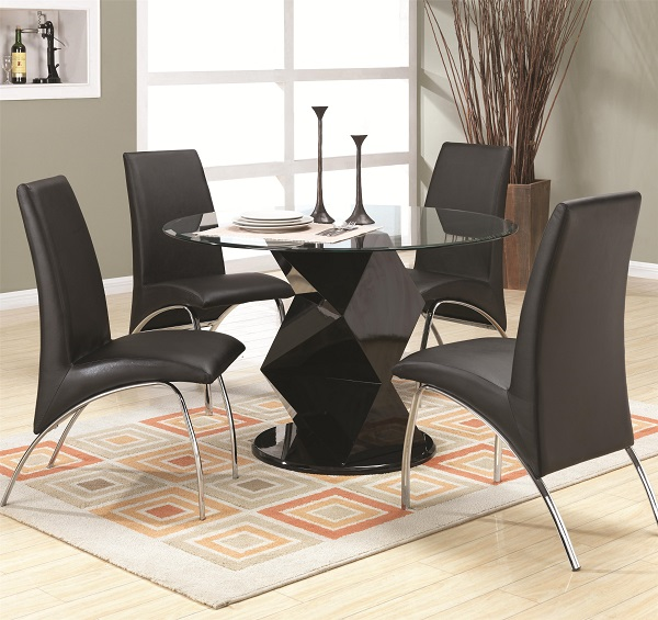 Round Glass Black Zigzag Pedestal Dining Table Set Shop For - Black pedestal dining table set