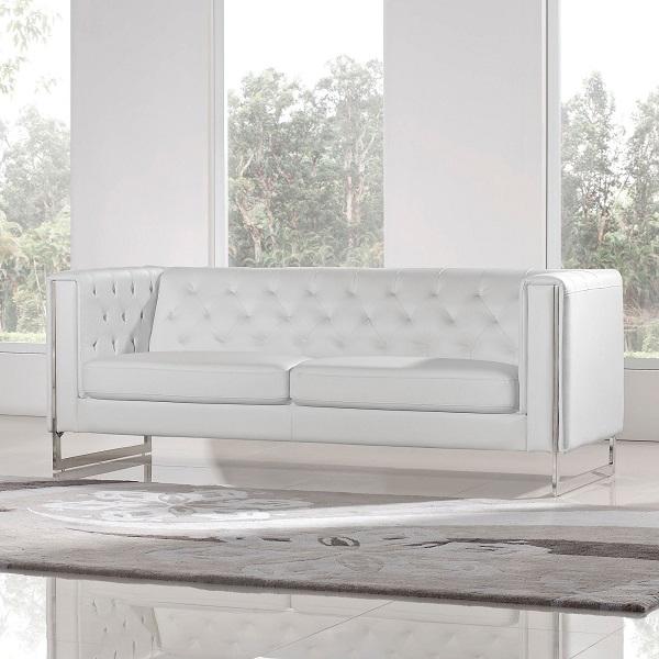 Chelsea White Leatherette Comfortable Sofa