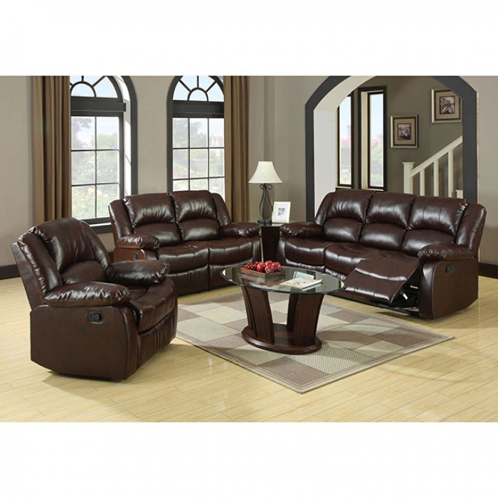 Winslow 2pcs Rustic Brown Bonded Leather Recliner Sofa Loveseat Set