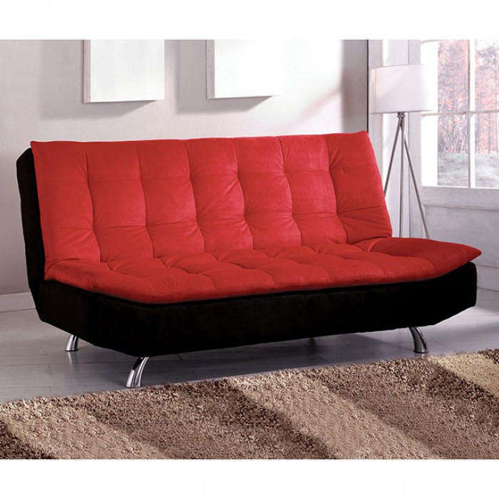 Malibu Red Black Microfiber Futon Sofa Bed