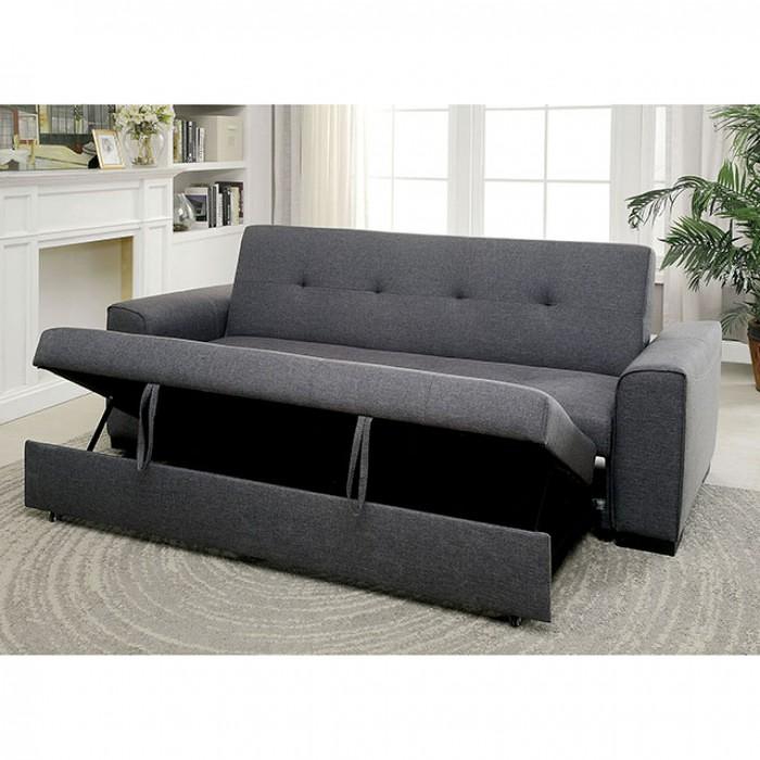 reilly grey linen like fabric futon sofa shop for