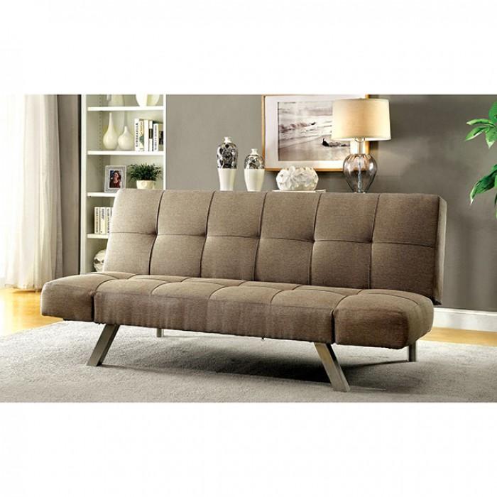 Arleen Light Brown Fabric Futon Sofa