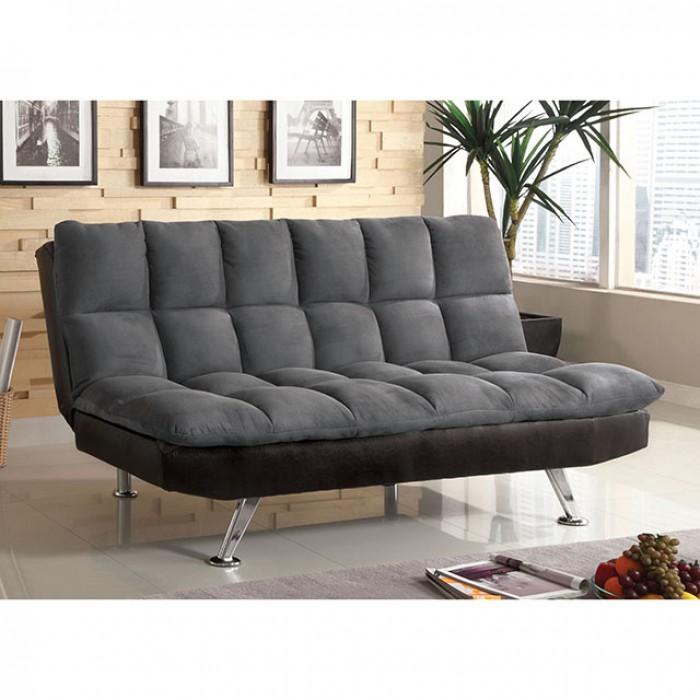 Tigray Gray Microfiber Futon Sofa Bed