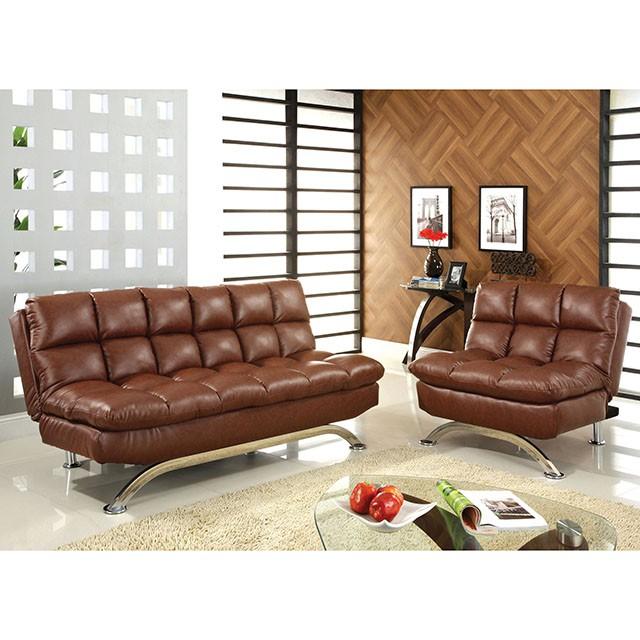 Aristo Saddle Brown Leatherette Futon Sofa Set