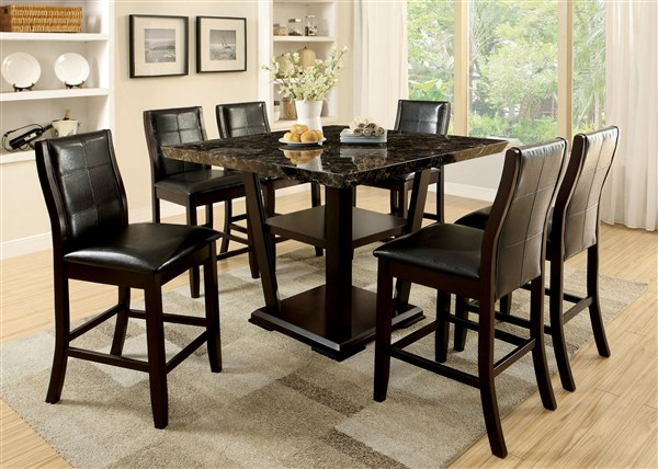 Clayton II Dark Cherry Faux Marble Top Counter Height Table Set ...