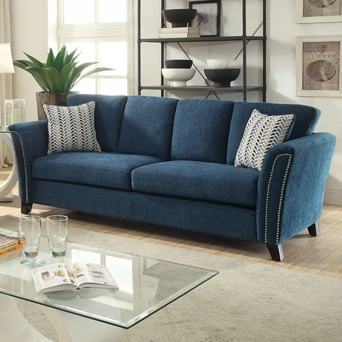 Campbell Contemporary Style Dark Teal Fabric Sofa Couch