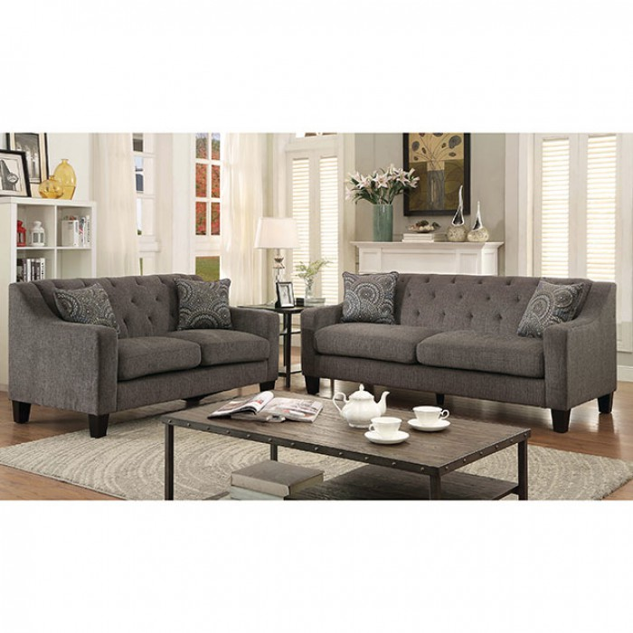 Marlene Contemporary Mocha Chenille Fabric Sofa Loveseat Set