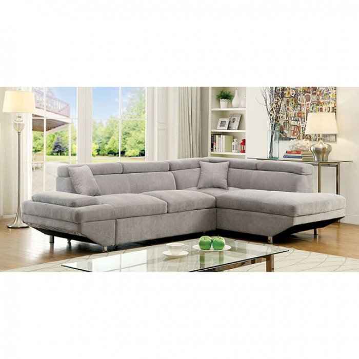 Foreman Contemporary Gray Fabric Sectional Sofa Couch