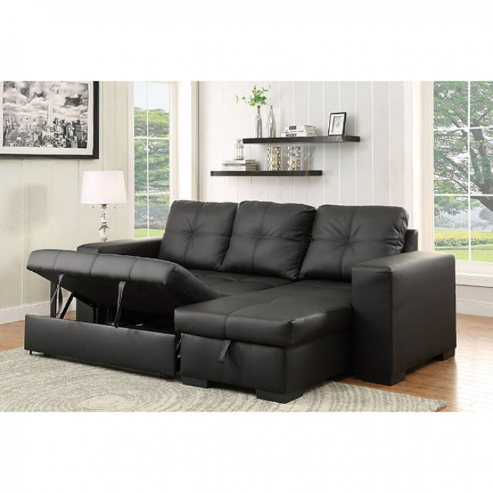 Denton Black Sectional Sofa Couch