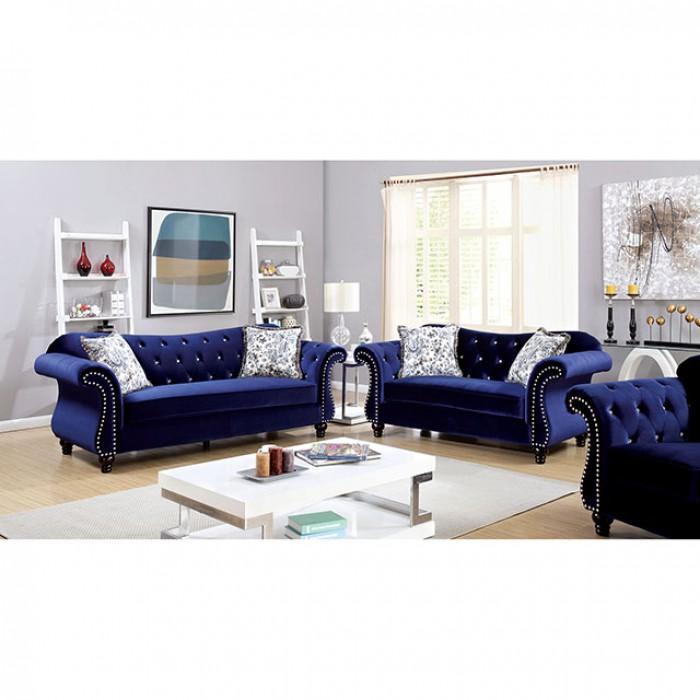 Jolanda Traditional Style Blue Flannelette Fabric Sofa Set - Shop ...