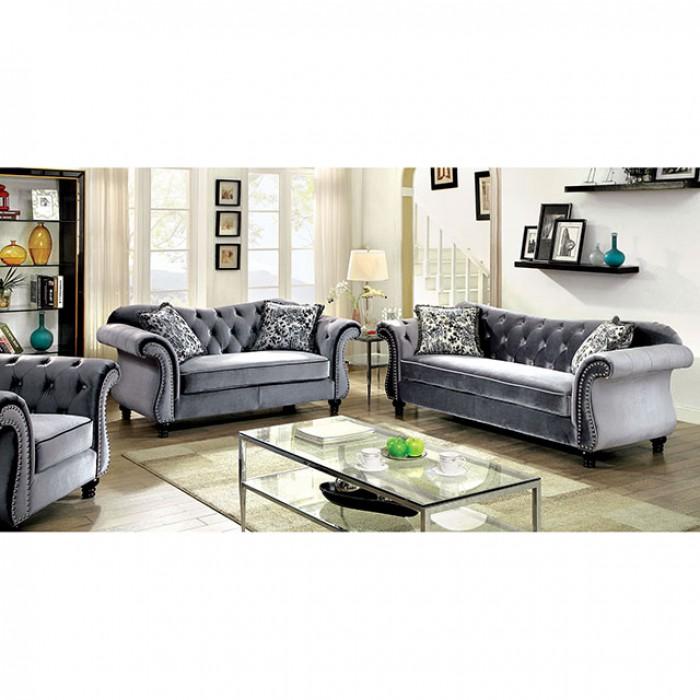 Jolanda Traditional Style Gray Flannelette Fabric Sofa Set - Shop ...