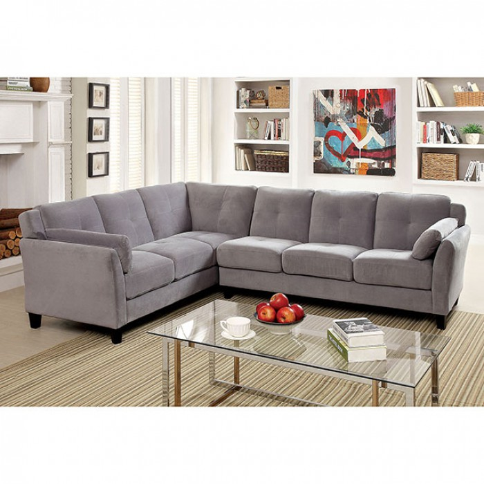 Peever Ii Contemporary Warm Gray Fabric Sectional Sofa Couch Shop
