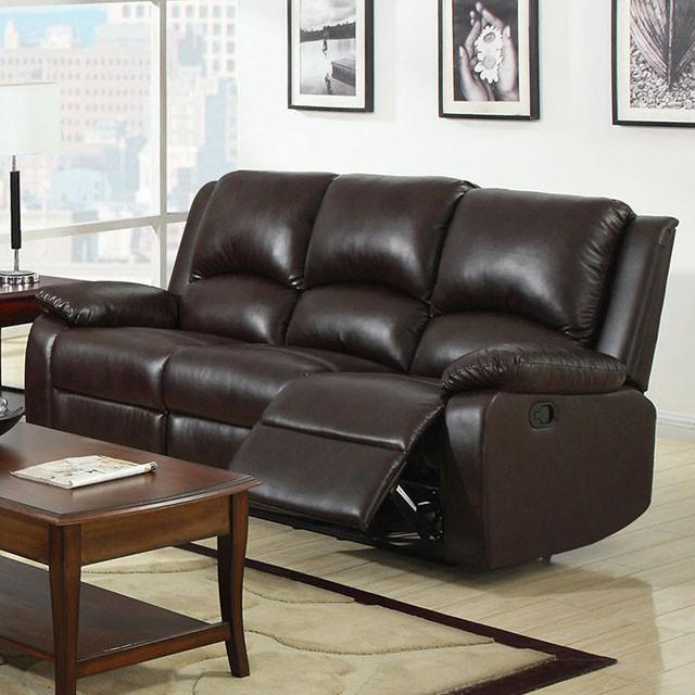 & Oxford Transitional Rustic Dark Brown Leatherette Recliner Sofa islam-shia.org