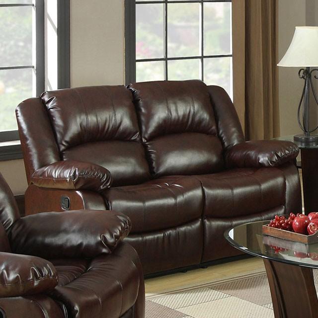 Winslow 2Pcs Rustic Brown Bonded Leather Recliner Sofa Loveseat Set
