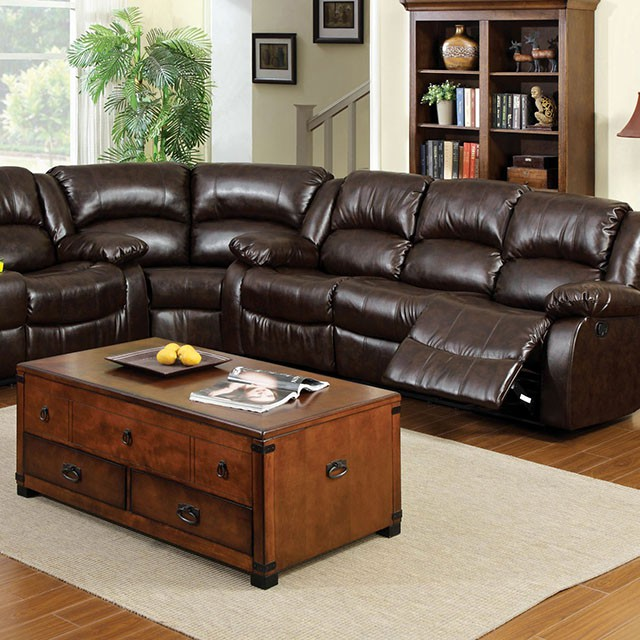 Winslow Rustic Brown Bonded Leather Recliner Sectional Sofa