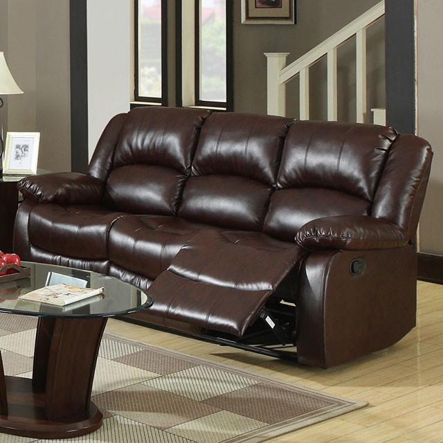 Winslow 3pcs Rustic Brown Bonded Leather Recliner Sofa Set Shop