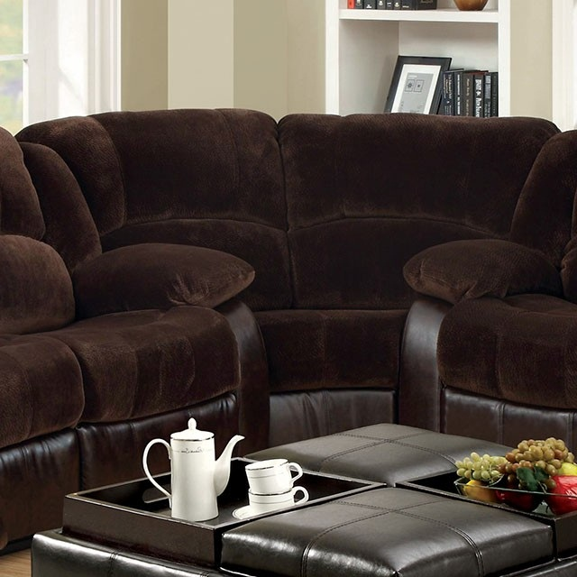 Winchester Brown Champion Leatherette Recliner Sectional Sofa Couch