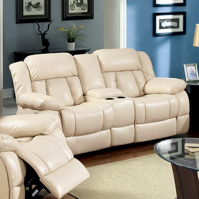 Barbado 3 Pieces Ivory Bonded Leather Recliner Sofa Set