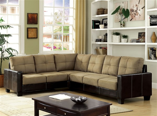 Transitional Two Tone Leatherette Sectional Sofa Couch