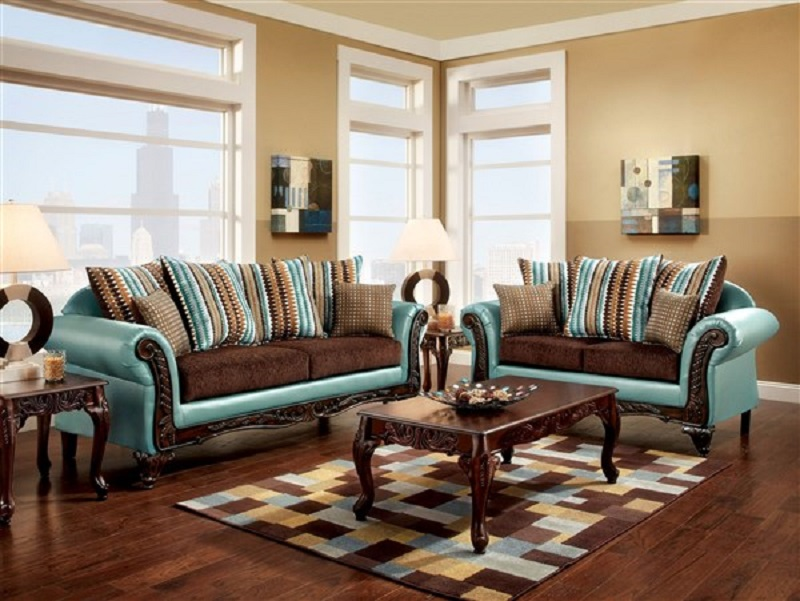 Mulligan Teal Dark Brown Fabric Leatherette 2pcs Sofa Set