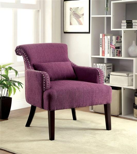 Agalva Purple Fabric Accent Chair